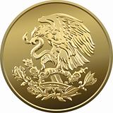 vector Mexican money gold coin with the image of the heraldic ea
