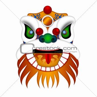 Chinese Lion Dance Head Illustration