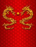 Pair of Chinese Dragons on Scale Pattern Background