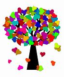 Colorful Valentines Day Hearts on Tree Illustration