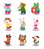 cartoon summer animal set
