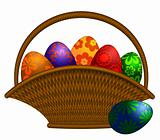 Basket of Easter Day Eggs Illustration