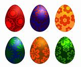 Six Colorful Easter Day Eggs with Floral Designs