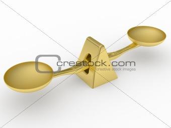 Golden balancing weight scale