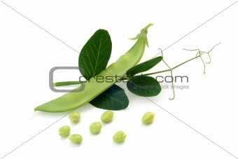 Fresh green peas  with leaves