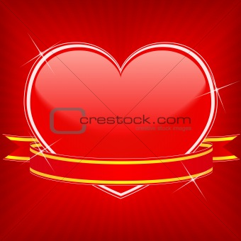 Red heart with stars and ribbon