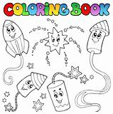 Coloring book fireworks theme 2