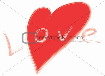 word Love and red stylized heart