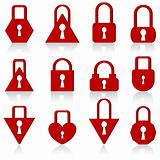 A set of metal locks of different shapes