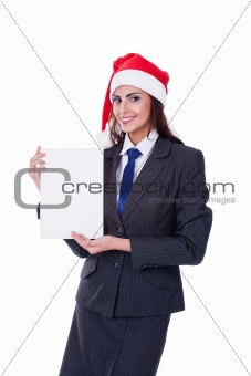 Christmas businesswoman with blank billboard