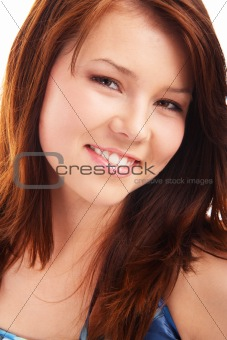 Portrait of young teenage brunette girl