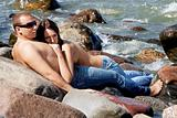 Sensual couple in jeans