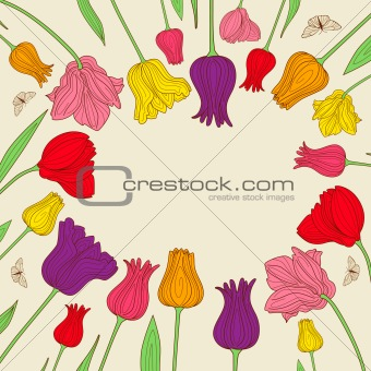 floral banner with colorful tulips
