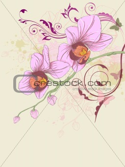 floral background with orchid and ornament