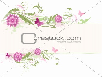 floral banner with pink flowers