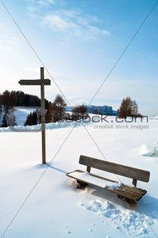 Wooden Winter bench with mark trial