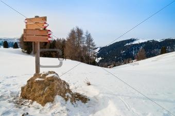 Trail mark in winter