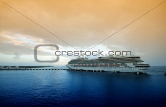 Cruise ship in twilight