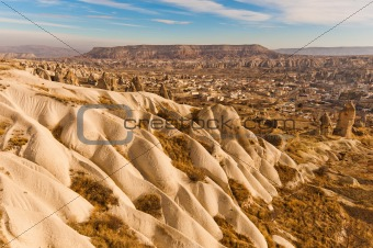 Ancient tuff stone caves landscape in Goreme Cappadocia Turkey