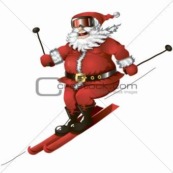 Skiing Santa isolated
