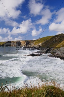 Stormy Sea and Blue Sky, Trebarwith Strand, Cornwall, UK.