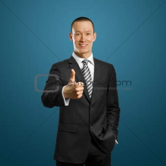 asian businessman in black suit shows well done