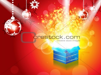abstract christmas magic box with spot light