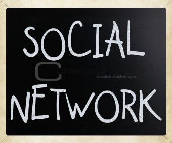 "The word ""Social network"" handwritten with white chalk on a blac"