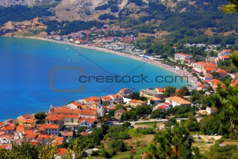 Adriatic Town of Baska aerial panorama
