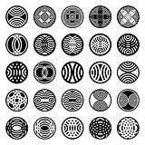 Patterns in circle. Design elements.
