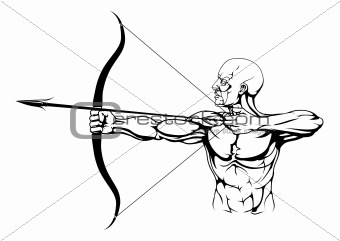 Black and white archer illustration