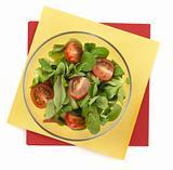 closeup on a fresh salad bowl