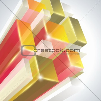 3D glass rectangles abstract background.