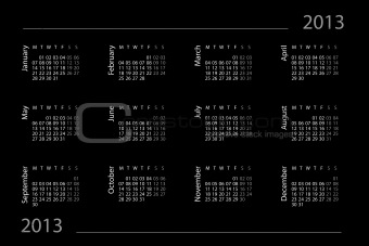 2013 year calendar on the black background