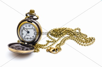 Old beutiful pocket watch. Isolated on white background.