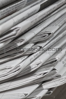 Stack of newspapers and magazines