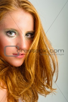 autumnal makeup on a young model against isolated white backgrou