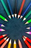 Colorful pencils in a circle