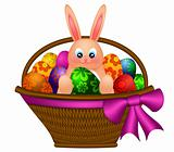 Happy Easter Bunny Rabbit in Egg Basket Illustration
