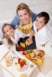 Preparing healthy breakfast together - top view
