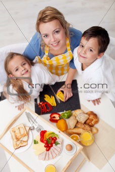 Preparing healthy breakfast together - top view