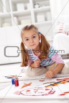 Little artist girl painting
