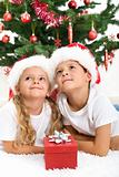 Smiling kids at christmas