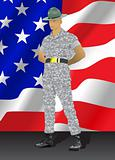Drill instructor and United States flag