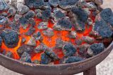 Hot coals close-up