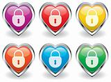 vector lock in the heart icons