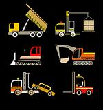Construction Vehicles - set of vector icons