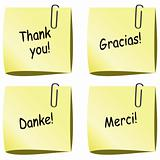vector paper notes with push pin and thank you words