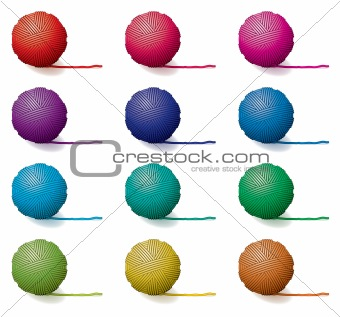 vector set of yarn balls