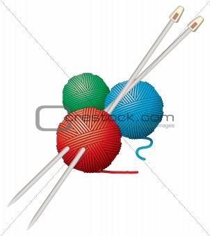 vector yarn balls and needles